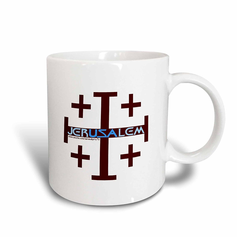 3dRose 16687/_1 Jerusalem Cross Mug 11 oz Multicolor