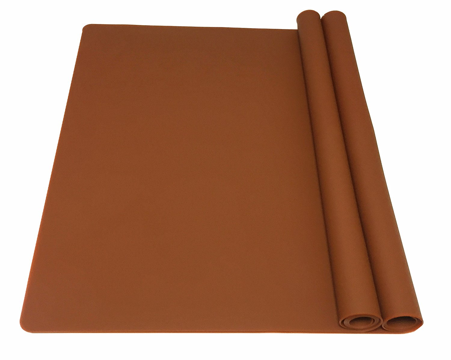 EPHome 2Pack Extra Large Multipurpose Silicone Nonstick Pastry Mat, Heat Resistant Nonskid Table Mat, Countertop Protector, 23.6''15.75'' (Chocolate)