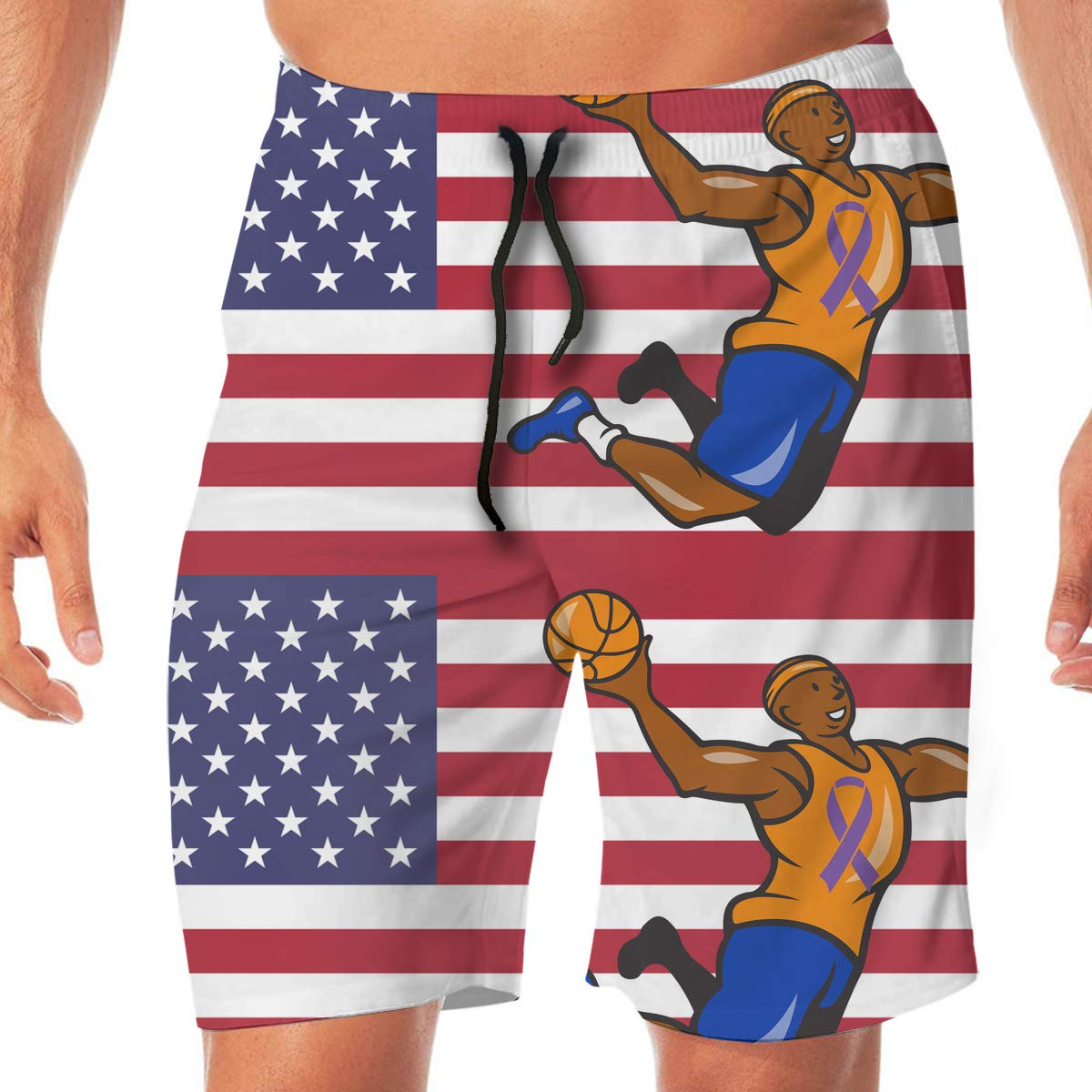 YGE.I.L25 Men Surfing Boardshorts American Alleyoop Basketball Cancer Awareness Casual Sport Beach Boardshort with Pocket