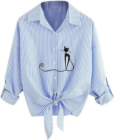 Camisa Mujer Primavera Otoño Fashion Blusa Larga Informales Manga Flecos Ropa Festiva De Solapa Gatos Impreso Anchos Elegantes Anudado Camicia Bluse Tops: Amazon.es: Ropa y accesorios