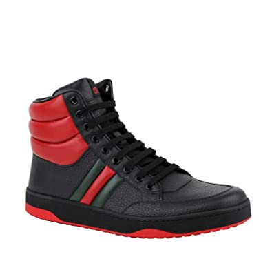 Amazon.com Gucci Men\u0027s GRG Web Detail Black/Red Leather Hi