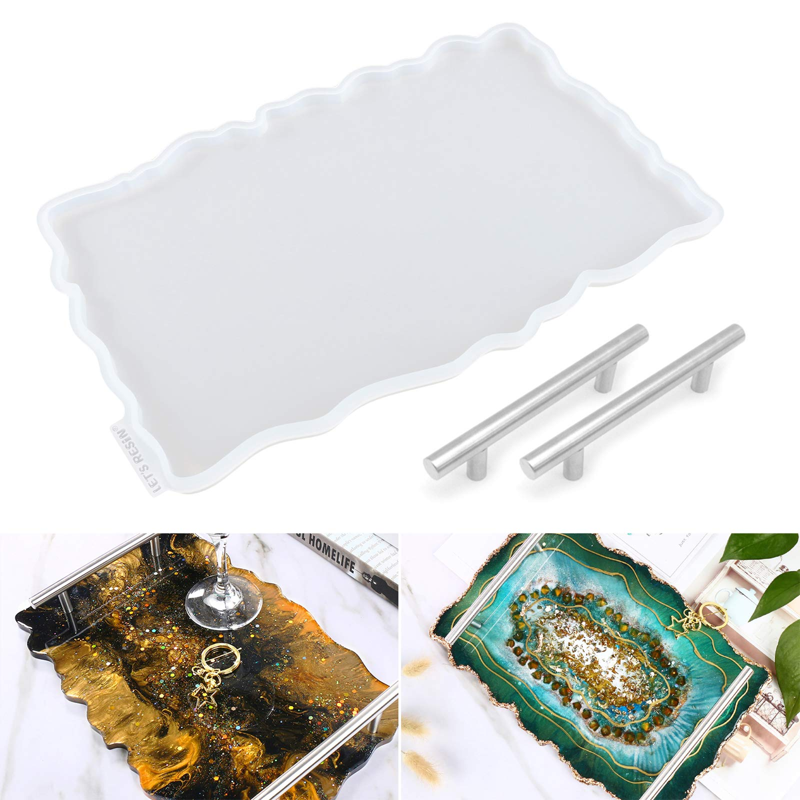 LET'S RESIN Resin Tray Molds,Geode Tray Molds for Epoxy Resin,Silicone Tray Molds with 2 Pcs Silver Handles,Large Epoxy Resin Molds for Making Faux Agate Tray,Serving Board,Serving Tray