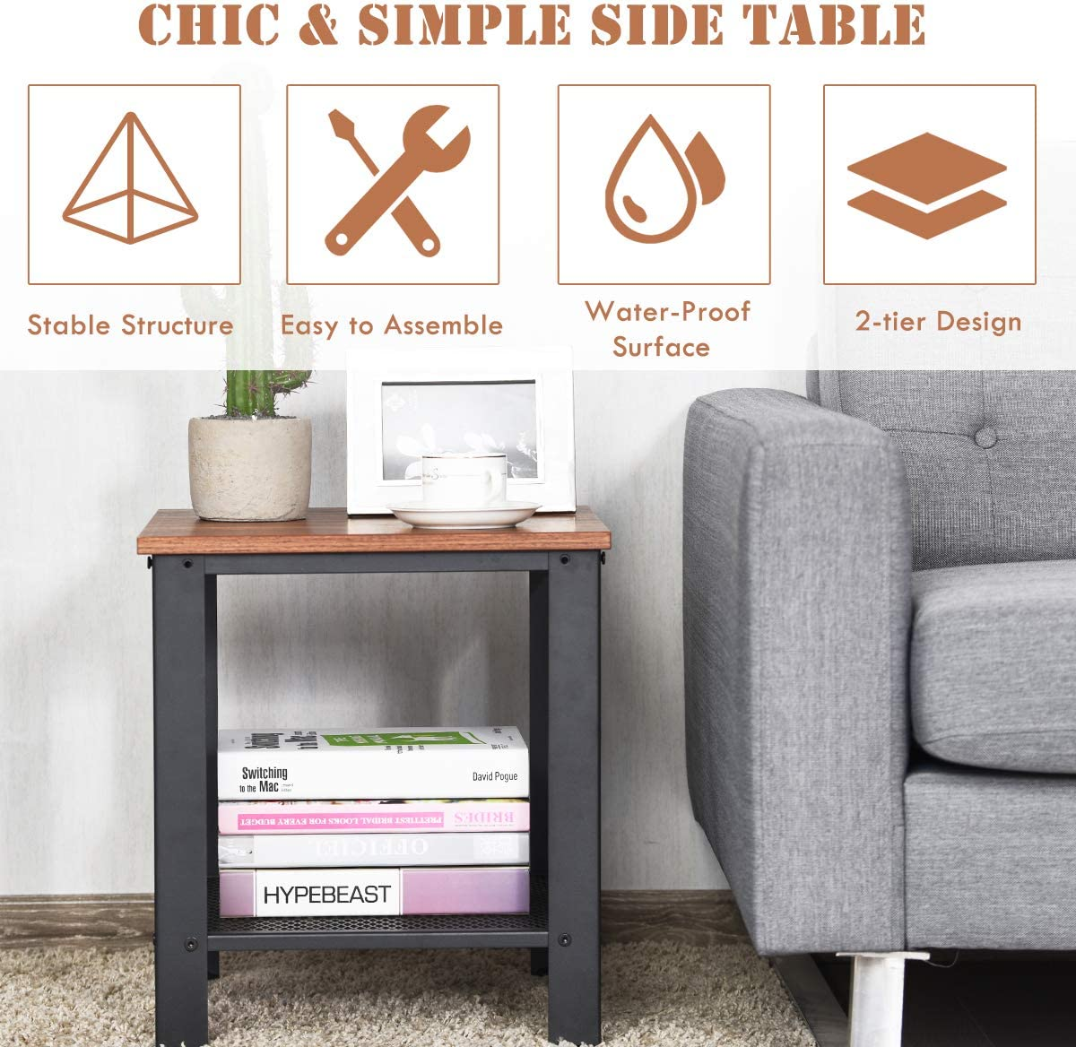 Giantex Nightstand Side Table 2-Tier W Adjustable Feet