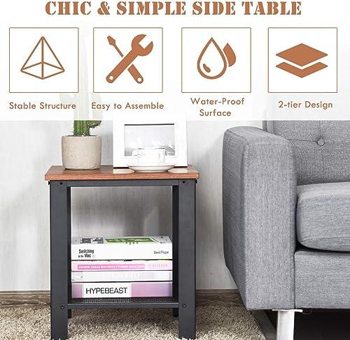 Giantex Nightstand Side Table 2-Tier W/Adjustable Feet
