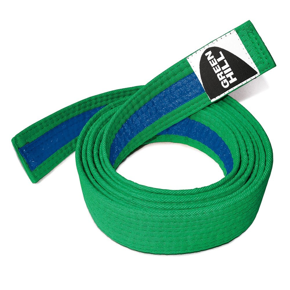 CINTURA JUDO BICOLORE BELT GREEN HILL KARATE MARTIAL ARTS INTERMEDIA