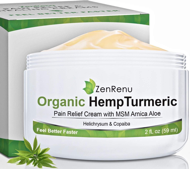 Organic Hemp Pain Relief Cream by ZenRenu - MSM Turmeric Arnica Lotion - Hemp Oil Hemp Extract for Pain Cream
