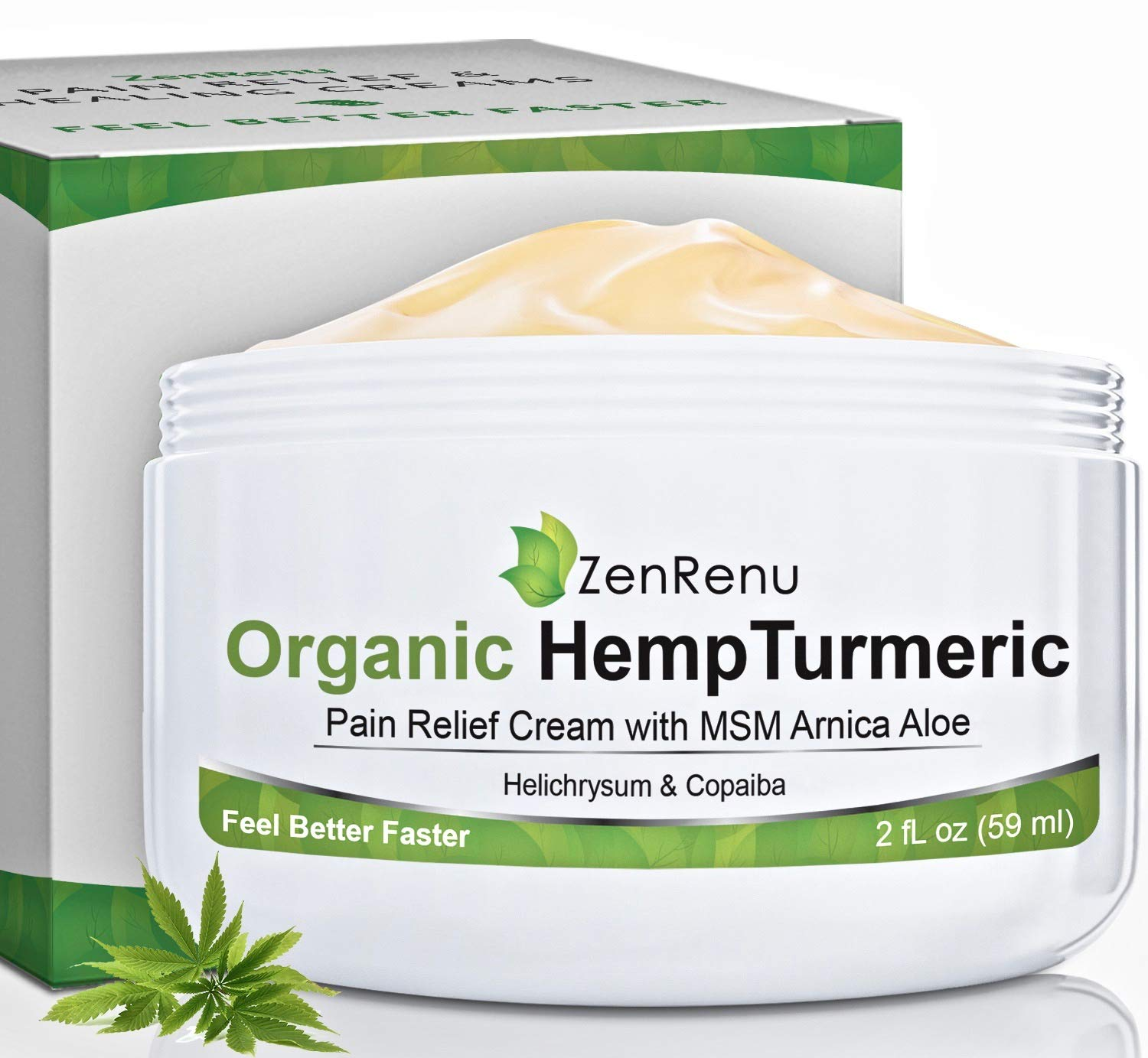 Organic Hemp Pain Relief Cream by ZenRenu - MSM Turmeric Arnica Salve - Hemp Oil Hemp Extract for Pain Cream by Zenrenu