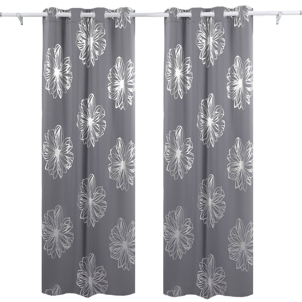 Deconovo Light Grey Flower Foil Printed Thermal Insulated Bedroom Grommet Blackout Curtains Drapes 52'' W x 84'' L - 1 Pair
