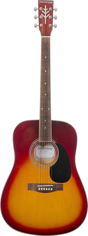 Guitarra acústica Stretton Payne Dreadnought, con cuerdas de acero de tamaño completo, D1, Cherry Burst: Amazon.es: Instrumentos musicales
