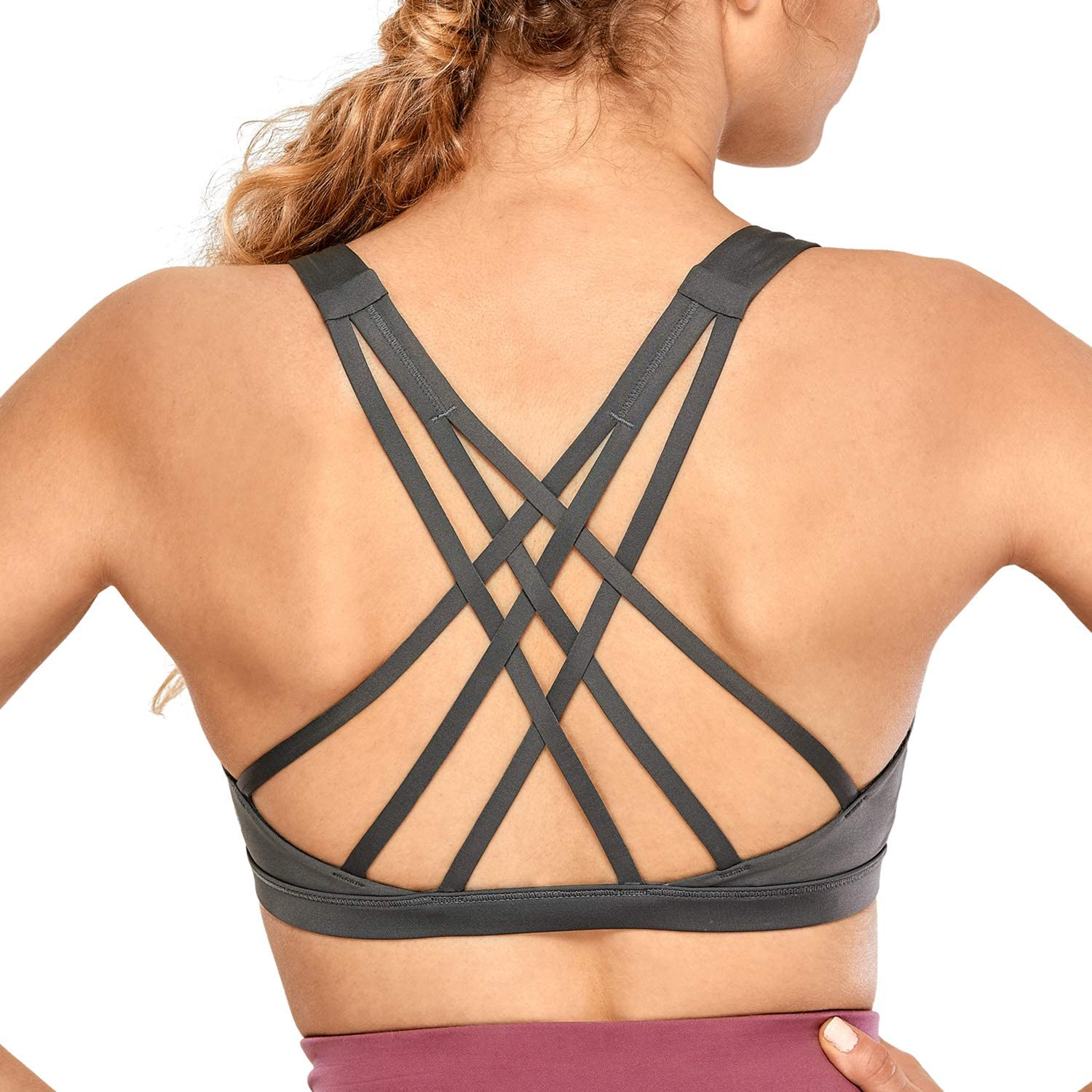 CRZ YOGA Women's Strappy Sports Bra Full Coverage Padded Supportive Cute Workout Yoga Bra Tops Sexy Back