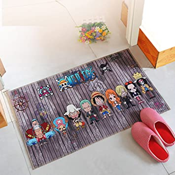 Japanese Anime One Piece Mediterranean Style Bathroom Rug Red Absorbent  Floor Mats Non Slip Rug