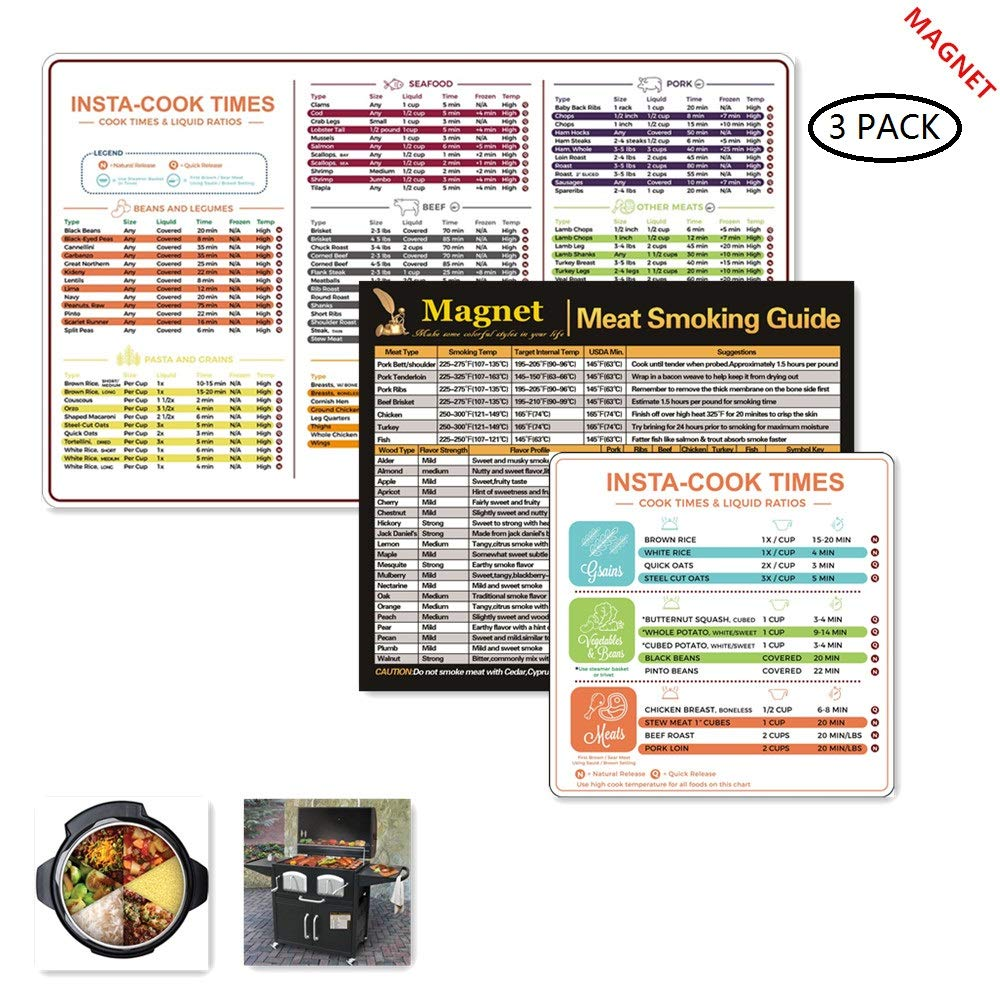 Instant Pot Cheat Sheet Magnets 2 Set,Instant Pot Electric Pressure Cooker Cookbook,Instant Pot Accessories,Barbecue Meat Smoking Guide 20 Types of Flavor Profiles & Strengths for Smoker Box.