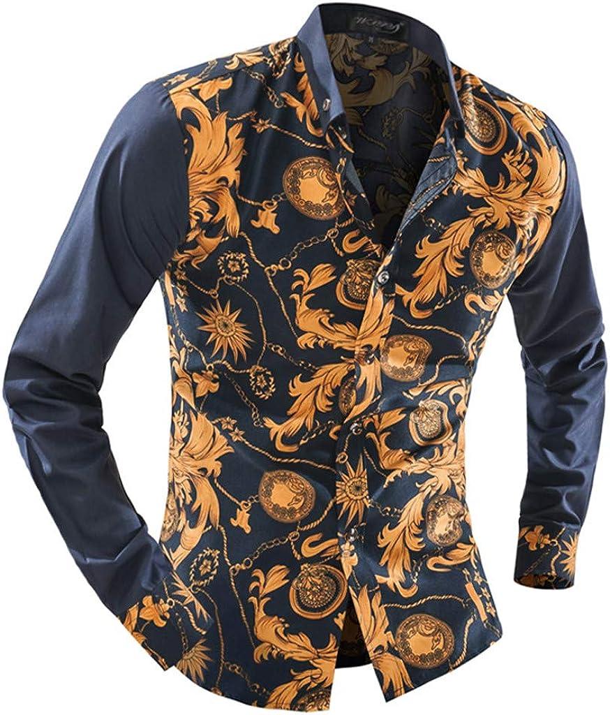 2019 /última Camisa Casual c/ómoda SoonerQuicker Camisas Hombre Manga Hombre Impresa Camisas de Manga Larga Blusa de Cultivo de Moda Camisas