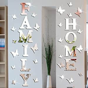 3D Home Sign Acrylic Mirror Wall Decor Stickers Family Sign Mirror Wall Decor DIY Mirror Butterfly Wall Decals 3D Mirror Wall Stickers Combination for Living Room Bedroom Kitchen Home Decorations