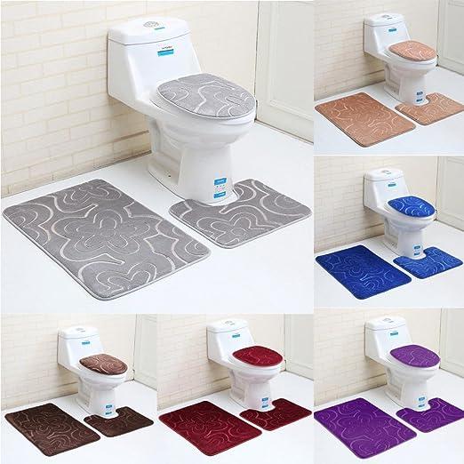 3 Pieces Bath Mat Set AOLVO Memory Foam and Contour Bathroom Rug Set Large Bath Rugs Soft /& Thick Contour Mat and Lid Cover Non-Slip Plush Shower Rugs Toilet Bathmats Carpet