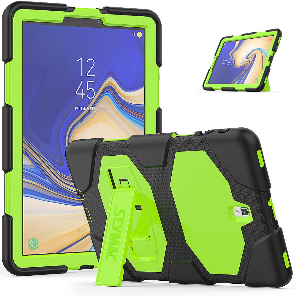 Galaxy Tab S4 10.5 Case, SEYMAC Heavy Duty Protection Rugged Shockproof Protective KickStand Case for Samsung Galaxy Tab S4 10.5'' 2018 Tablet (SM-T830/SM-T835/SM-T837) (Black/Green)