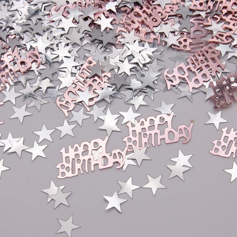 Confetti da tavola 30g coriandoli Happy Birthday per Ragazzi Ragazze Decorazione Festa di Compleanno APERIL Coriandoli Blu Buon Compleanno coriandoli Stella dArgento coriandoli Paillettes