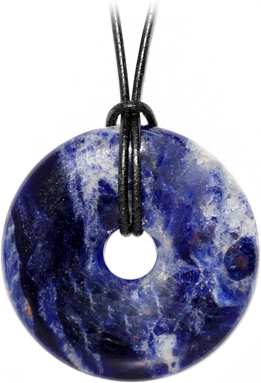 Kaltner Präsente- Collar de cuero para hombre y mujer con colgante en forma de aro en piedra sodalita