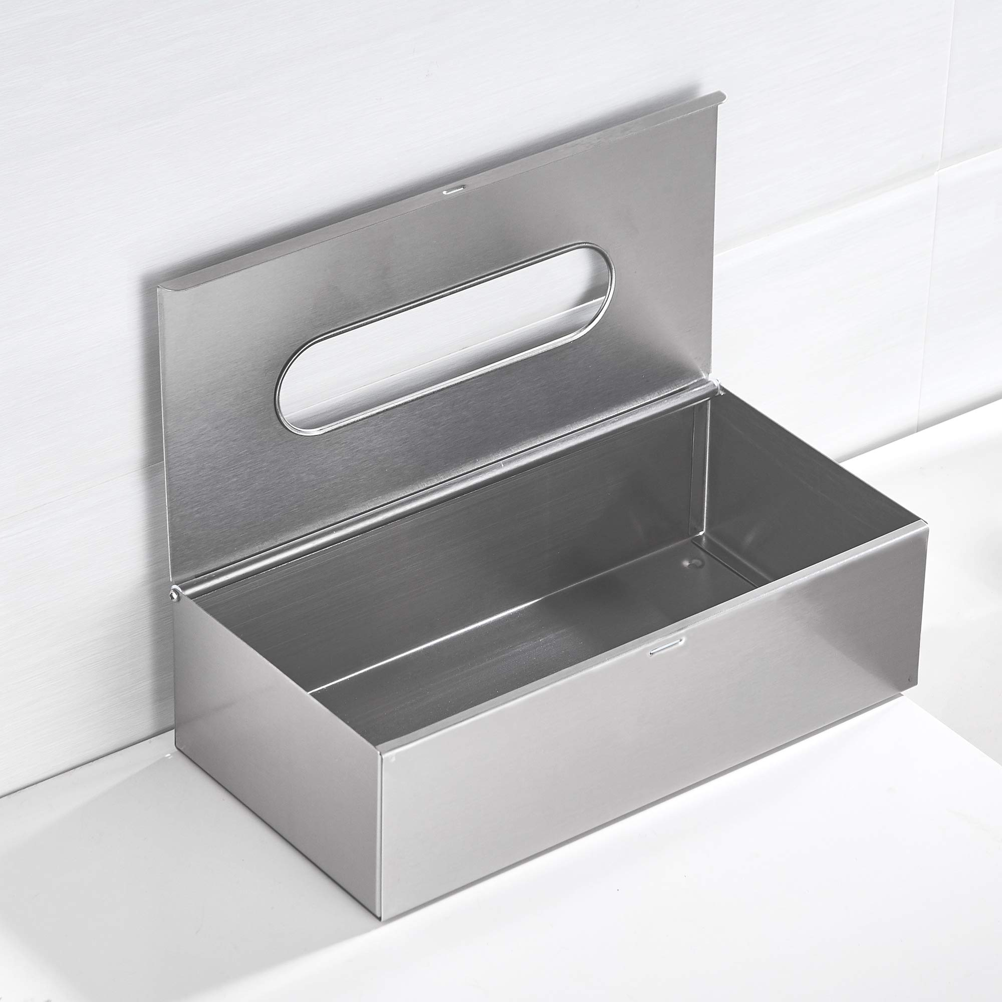 JiangPu Rectangle Tissue Box Cover Holder Use for Bathroom Brushed Nickel Tissue Holder Use for Dining Hall or Wall Mounted Use for Toilet Paper Holder Stand by JiangPu