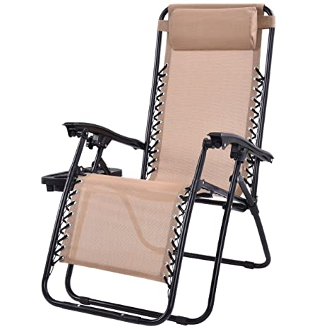 zero gravity reclining outdoor lounge chair canopy shade goplus folding zero gravity reclining lounge chairs outdoor beach patio wutility tray beige amazoncom