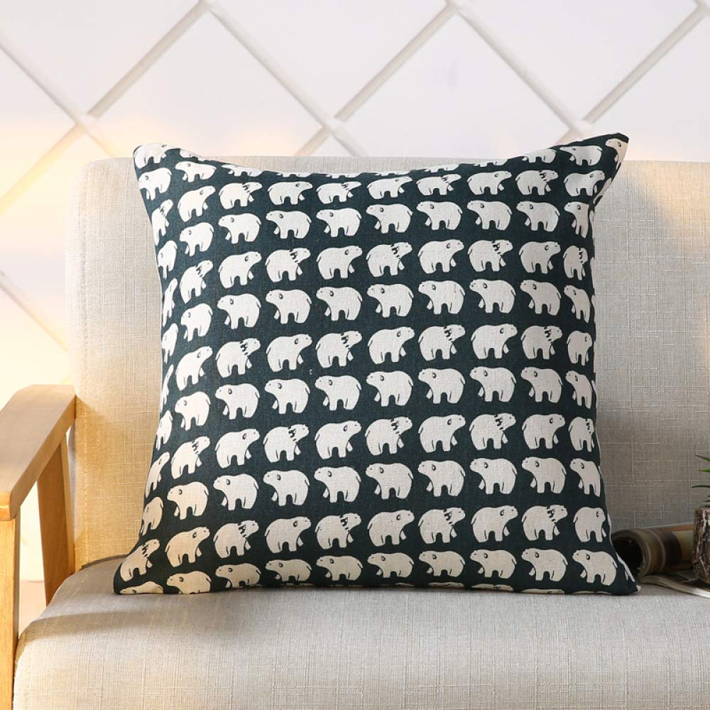 FASTCXV Modern Simple Pillow Case Solid Color Cotton Sofa Cushion Pillow Car Mat Lumbar Pillow Polar Bear 4545 Core by FASTCXV