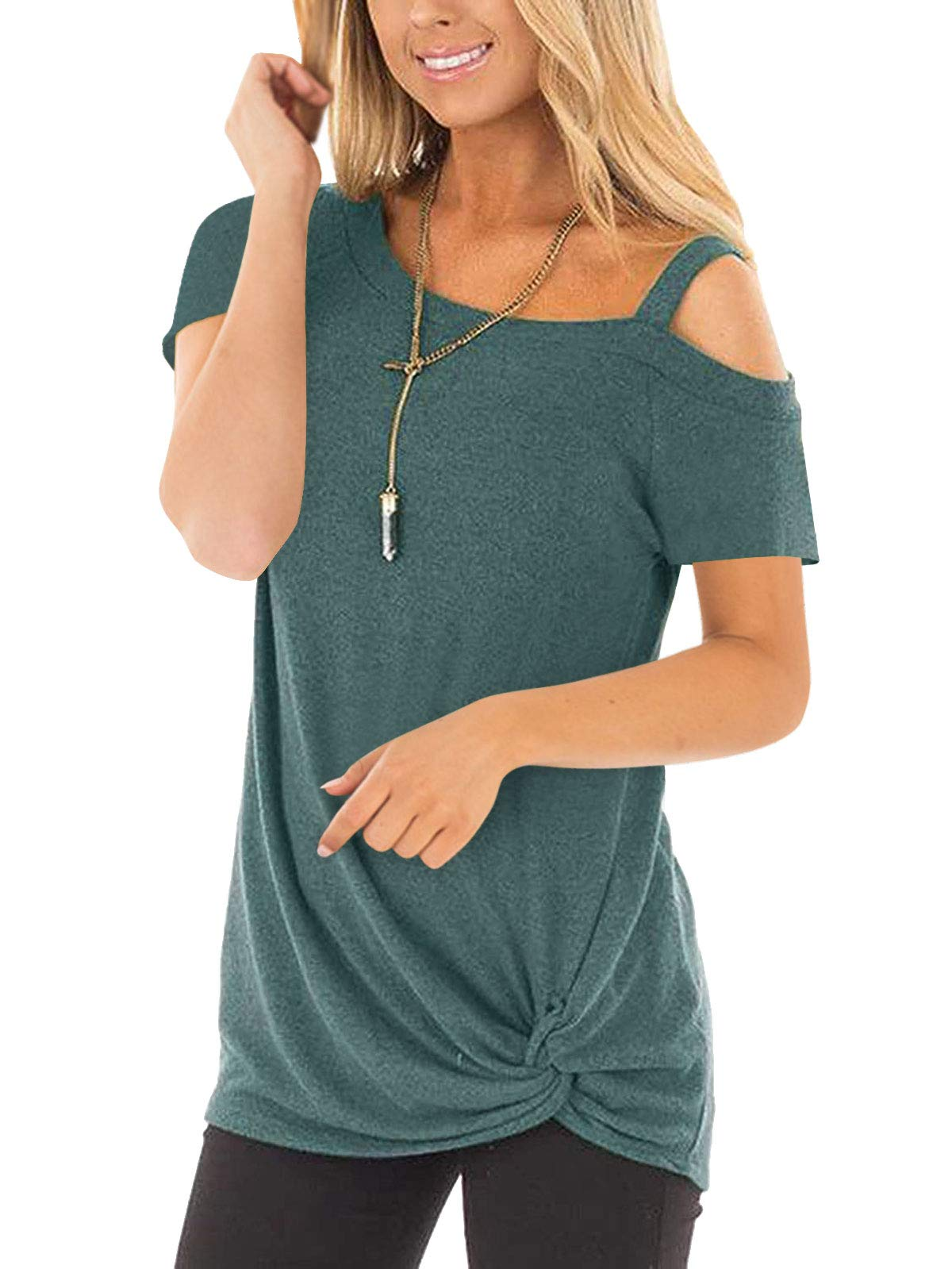 IMIDO Womens Cold Shoulder Tops Front Knot Side Twist Shirts One Shoulder Blouse Short Sleeve Tunic (M, B-Green)
