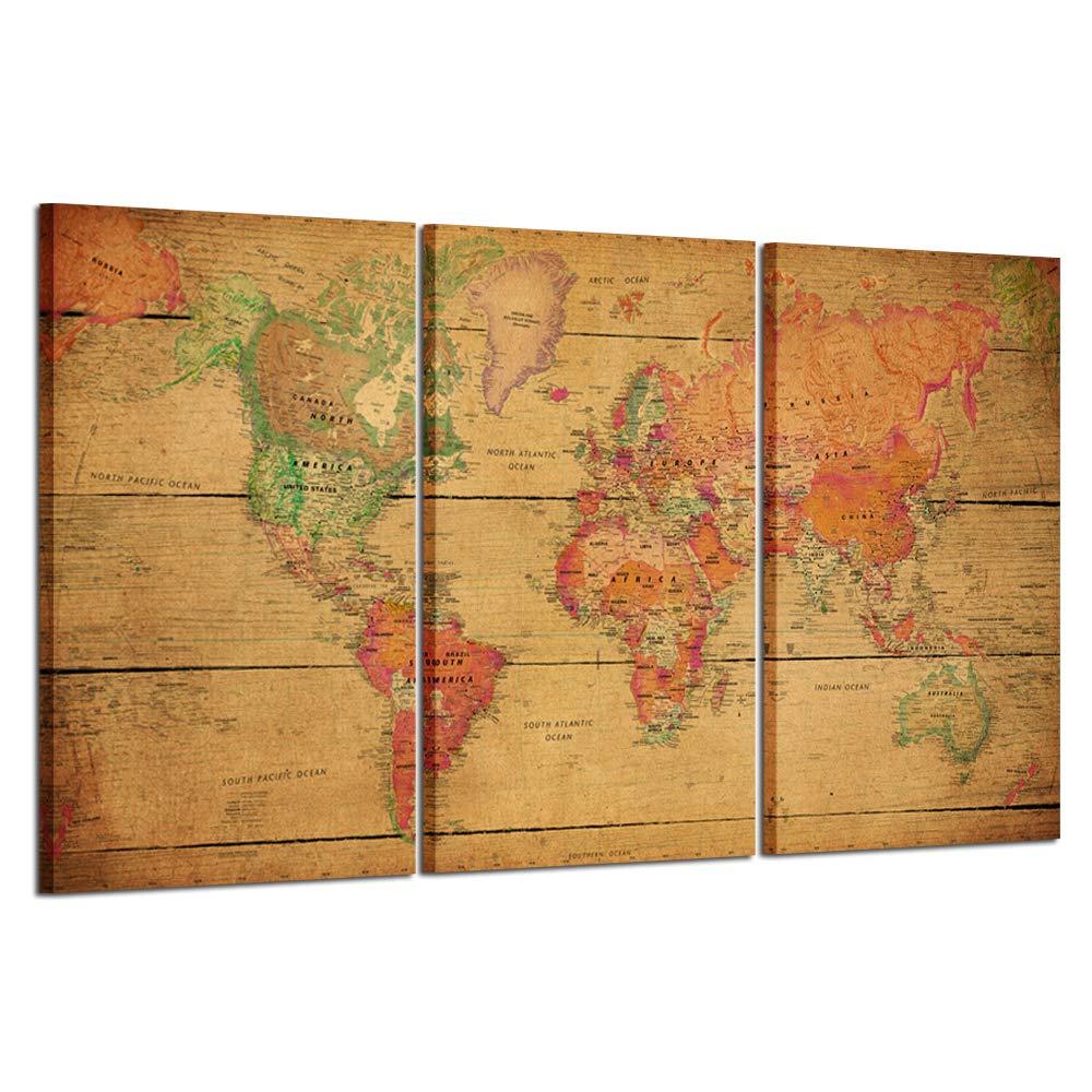 Amazon.com: Kreative Arts - World MAP Canvas Art - Premium Canvas ...