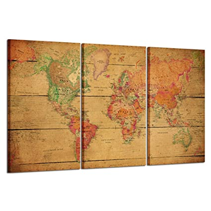 Amazon Com Kreative Arts World Map Canvas Art Premium Canvas