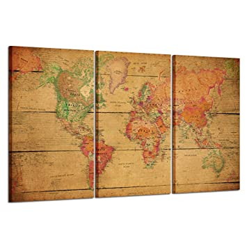 Kreative Arts - World MAP Canvas Art - Premium Canvas Art Print - Large  Colorful Wall Art Deco - Canvas Picture Stretched on Wooden Frame As Modern