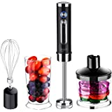 Hand Blender, Ikich Professional Powerful 4-in-1 400 Watt Immersion Hand Blender Set with 5 Speed, Chopping bowl & Blender & Whisk Included