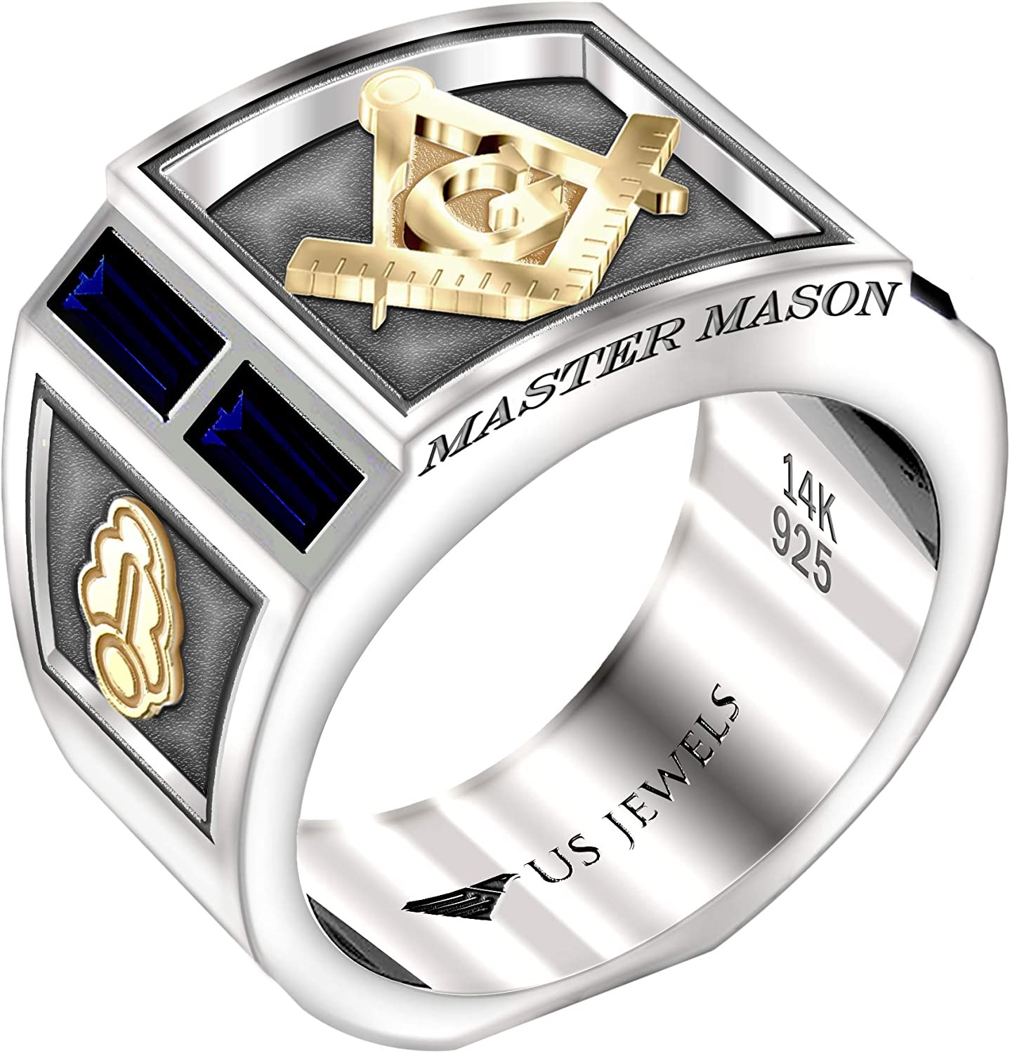 US Jewels And Gems Men's Master Mason Two Tone 0.925 Sterling Silver 14k Yellow Gold Simulated Sapphire Ring, Sizes 8 to 13