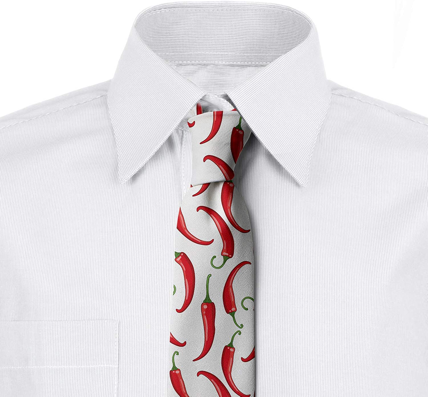3.7 Ambesonne Mens Tie Vermilion and Green Spicy Vegetable Composition
