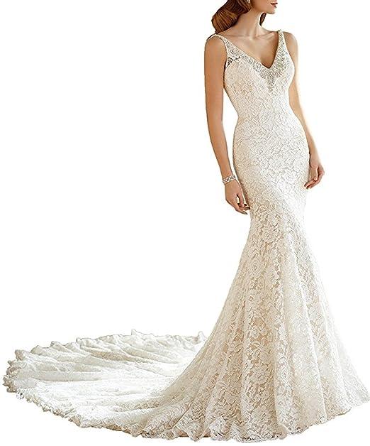 XUYUDITA Mujeres elegante doble V cuello de cristal rebordeado sirena encaje vestidos de novia: Amazon.es: Ropa y accesorios