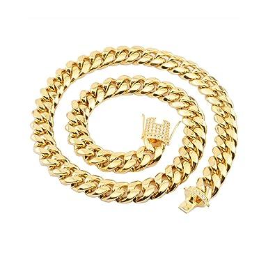 AieniD Collar Acero Inoxidable Cadena De La Acera Oro Collar ...