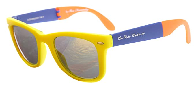 3e441bed01 De puta Madre 69 Gafas de sol plegable gafas Neon Amarillo/Amarillo dz2039s  de 2238 de YE de BL de or: Amazon.es: Ropa y accesorios