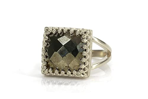 Pyrite Ring  Pyrite Silver Ring   Natural Pyrite Handmade Jewelry  925 Sterling Silver Ring  Silver Band Ring