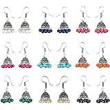 Waama Jewels Multicolor Silver-Plated Combo Of 9 Jhumki Earrings For Women
