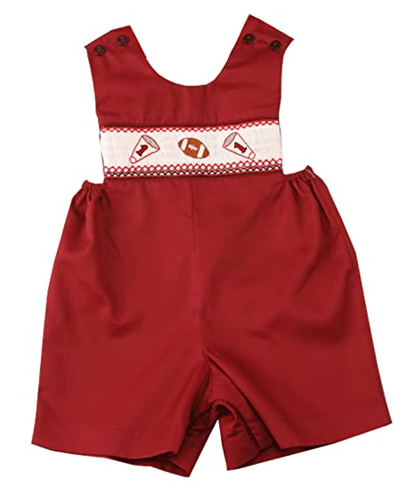 Rosalina Little Boys Smocked Maroon Football Romper 12M