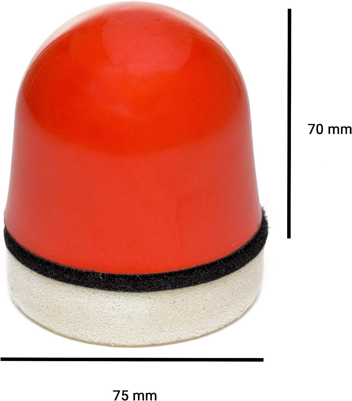 Handpad mit weichem Polierschaum /Ø 75 mm Schleifblock Glaspolitur 15906 Soft Palmhalter