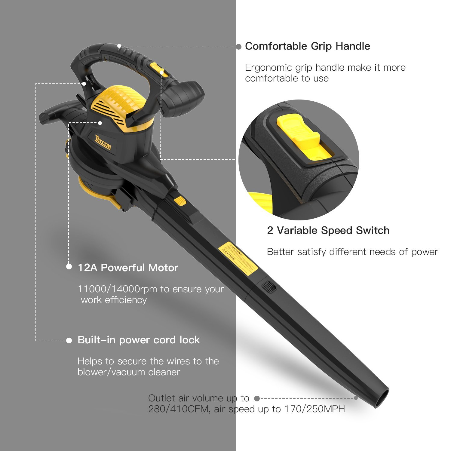 Leaf Blower Vacuum, TECCPO TABV01G 12-Amp 250MPH 410CFM 3 in 1 corded electric Two-Speed Sweeper/Vac/Mulcher, Plastic Impeller Metal Blade, Ideal for Lawn and Garden by TECCPO (Image #2)