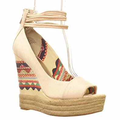 Rachel Roy Womens SHIFALI Canvas Open Toe Casual Platform Beige Size 110