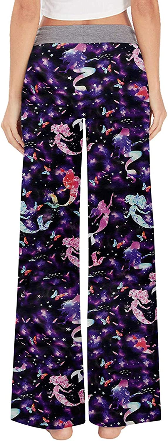 Fanient Womens Palazzo Casual Trousers Comfy Pajama Pants 3D Print Graphic Drawstring High Waist Wide Legs Lounge Pants Trousers Sports Trousers