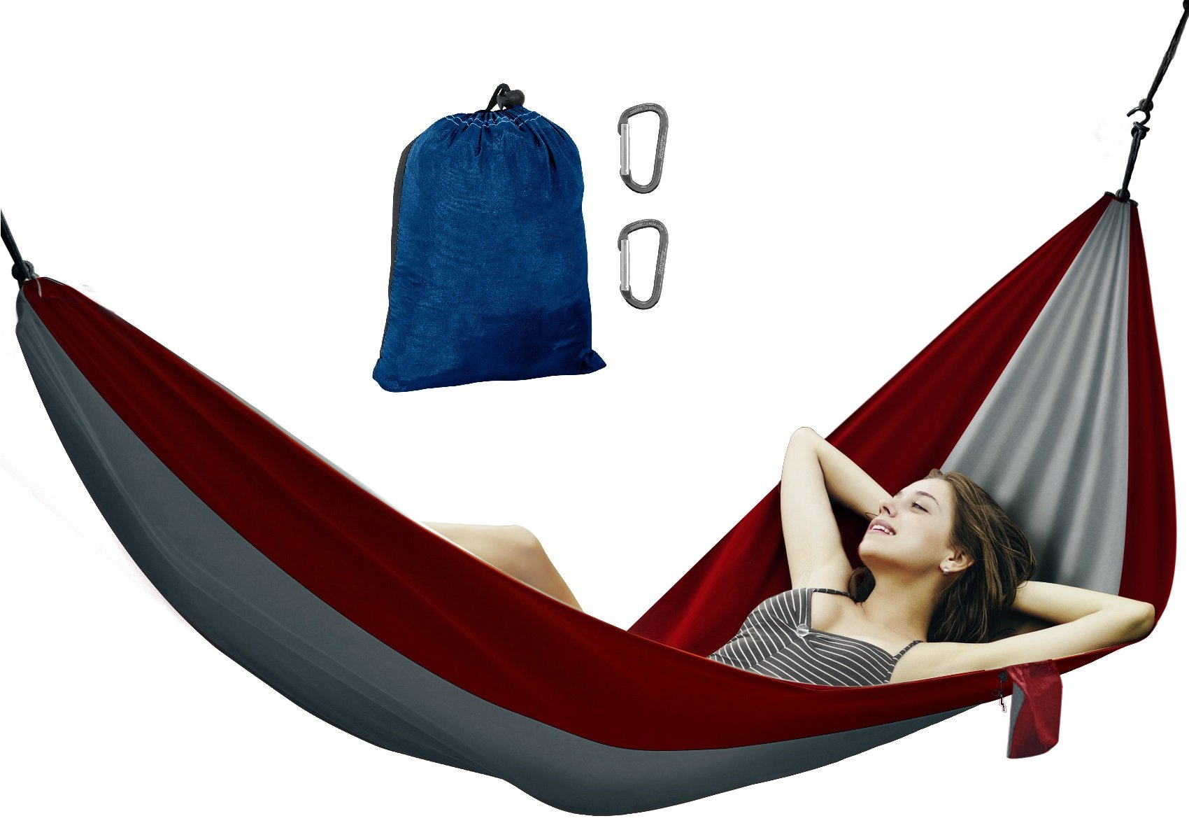 Avalanche Hammock Portable Single or Double Parachute Lightweight Strong Enforced Nylon Includes 2 Carabiners (Red, Single Person) by Avalanche
