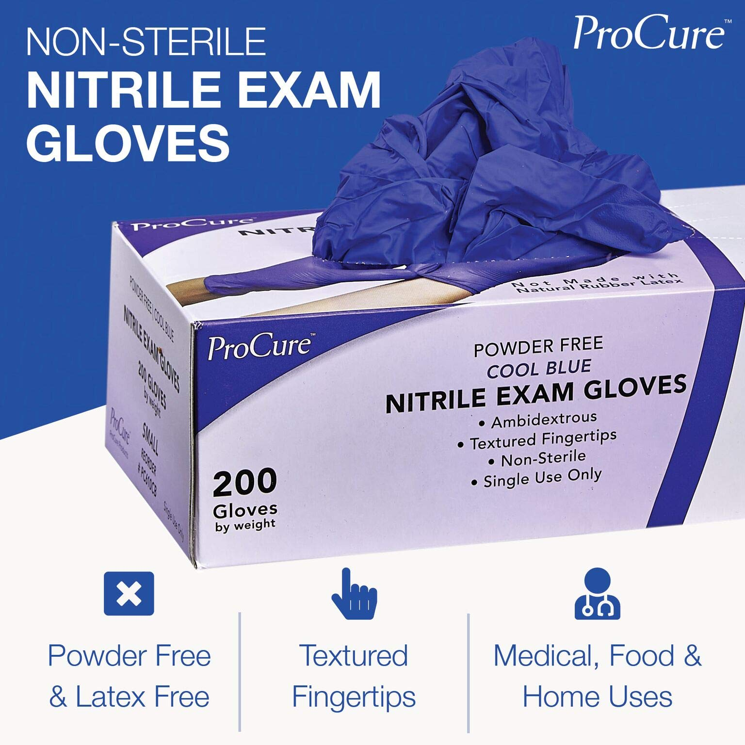 ProCure Disposable Nitrile Gloves – Powder Free, Rubber Latex Free, Medical Exam Grade, Non Sterile, Ambidextrous - Soft with Textured Tips – Cool Blue (Medium, 2000 Case) by Medacure (Image #3)