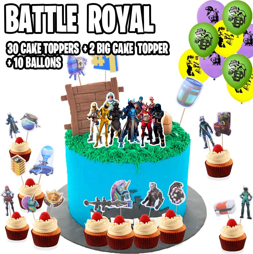 FortParty - Battle Royal Party Set (2019 Update) - Birthday Party Supplies for Game Fans, 50Pcs Party Favors, 31 Cake Toppers, 2 Big Cake Toppers, 10 ...
