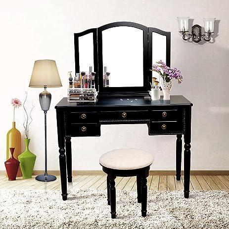 blongang vanity set trifolding mirror vanity makeup table bedroom dressing table set