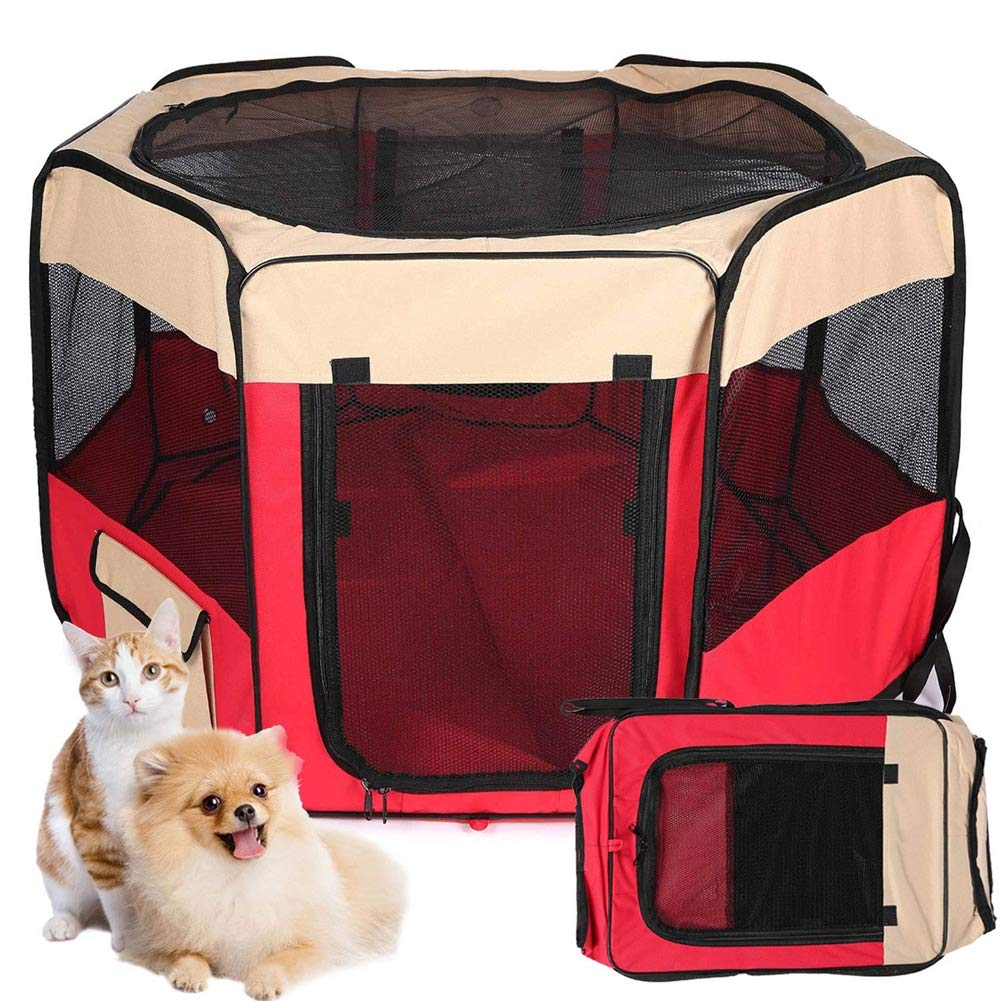 Red L Red L Pet Play Pen Portable Foldable Soft Dog Cat Play House,Red,L