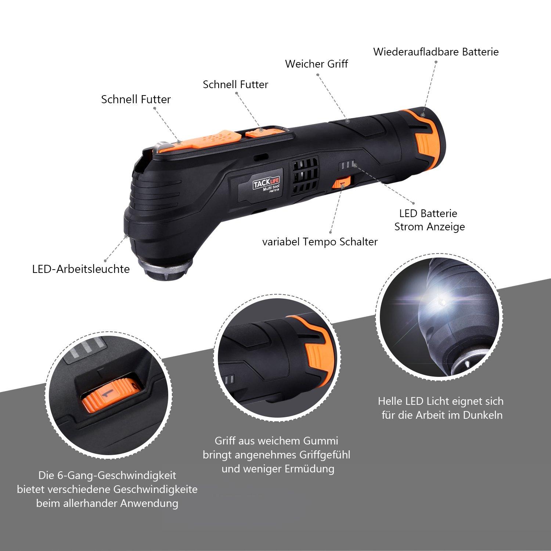 2.0Ah Akku LED-Licht und Koffer,zum Schleifen,Schneiden und Polieren,mit 24 Zubeh/ör Multifunktionswerkzeug-Tacklife PMT01B Oszillierendes Werkzeug,6 Geschwindigkeiten und Schnellwechselfutter,12V