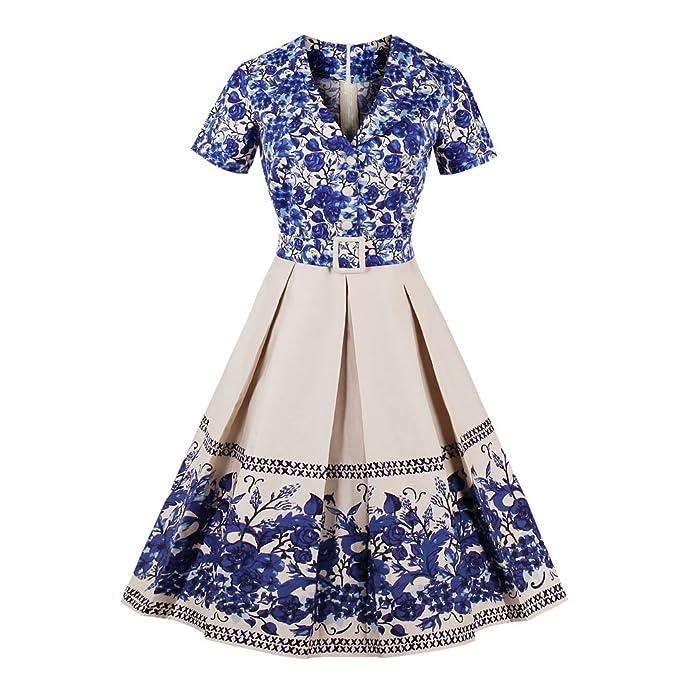 Vintage vestidos de mujer de manga corta una línea otoño elegante porcelana Impresión Floral Rockabilly Swing Otoño vestido de fiesta vestidos: Amazon.es: ...