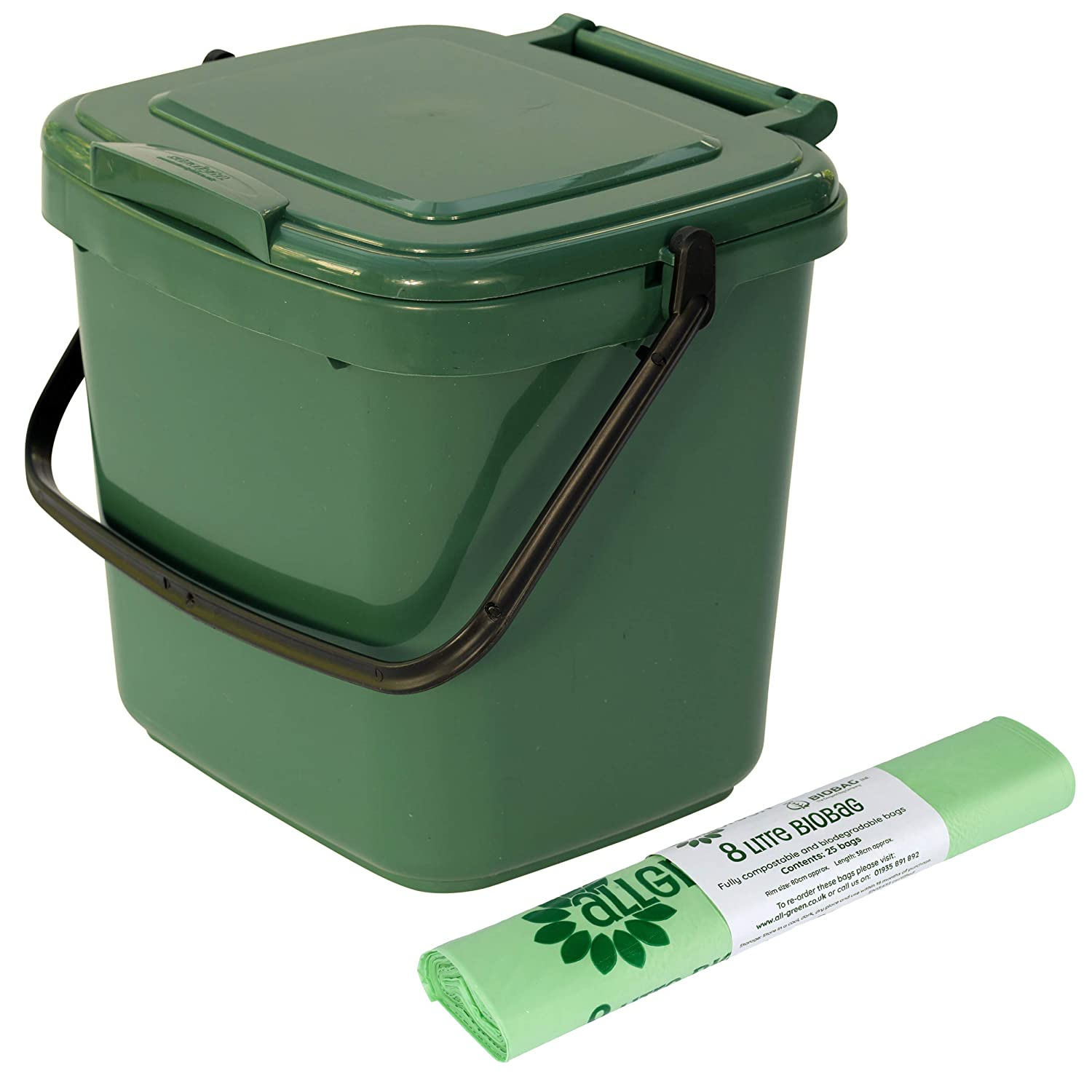Green Kitchen Compost Caddy & 25x 8L Compostable Bags - for Food Waste Recycling (7 Litre) - 7L Plastic Composting Bin All-Green